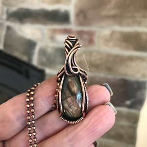 Amber Labradorite Small Wire Wrapped Pendant in Copper