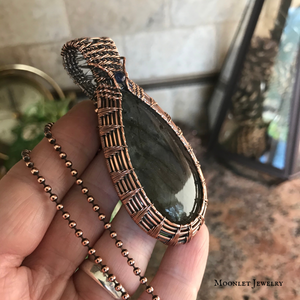 Rainbow Labradorite Weave in Antique Copper