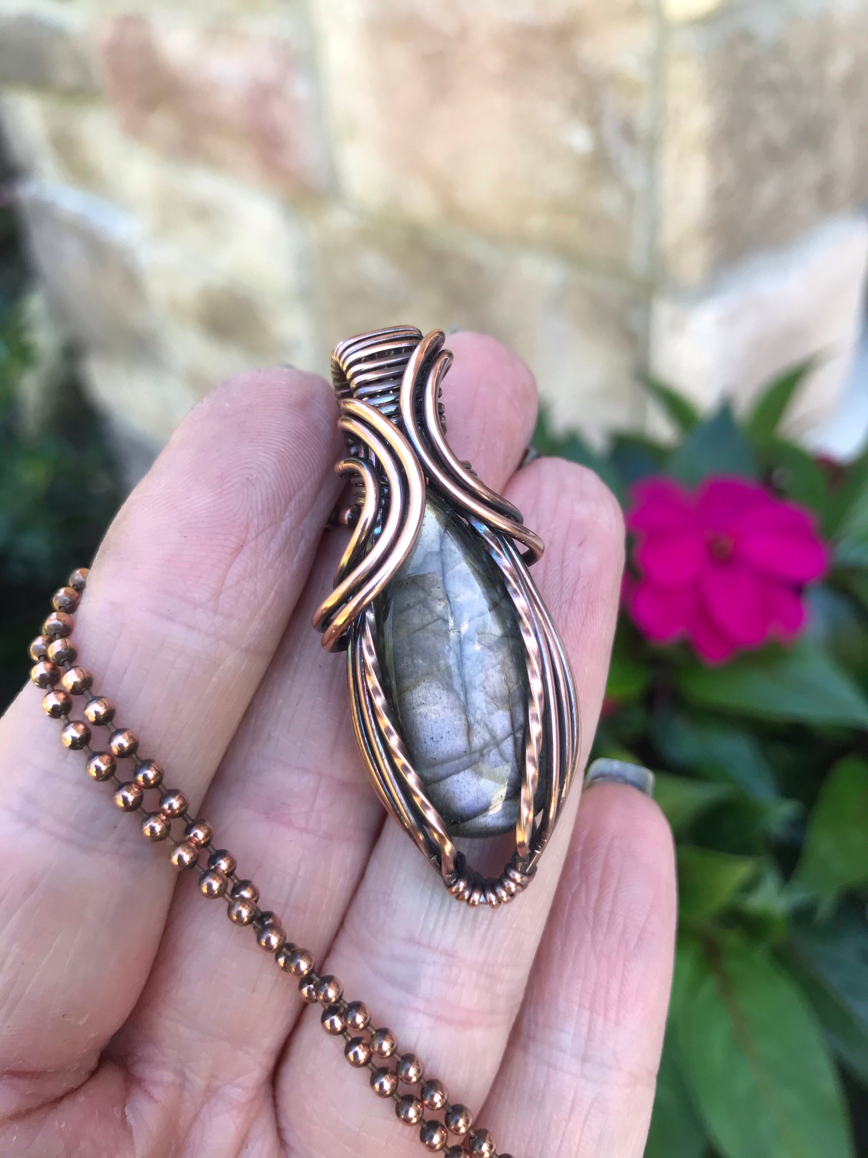 Gray Labradorite Mini in Antique Copper
