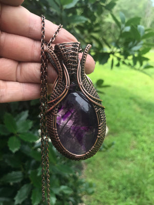 Amethyst Oval in Antiqued Copper