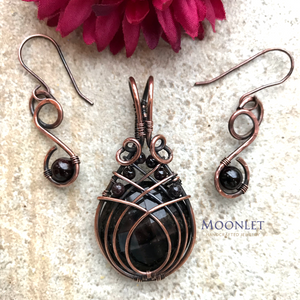 Set of Garnet Earrings and Black Resin Lucite Antique Copper Pendant