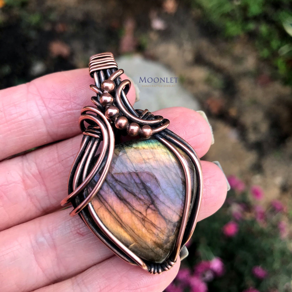 by MOONLET HANDCRAFTED JEWELRY Rainbow Labradorite with Beads Antique Copper Wire Wrapped Jewelry