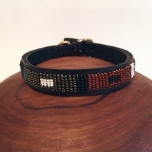Leather Beaded Dog Collar Size S