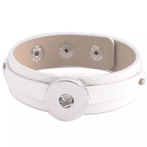 Classic white faux leather cuff