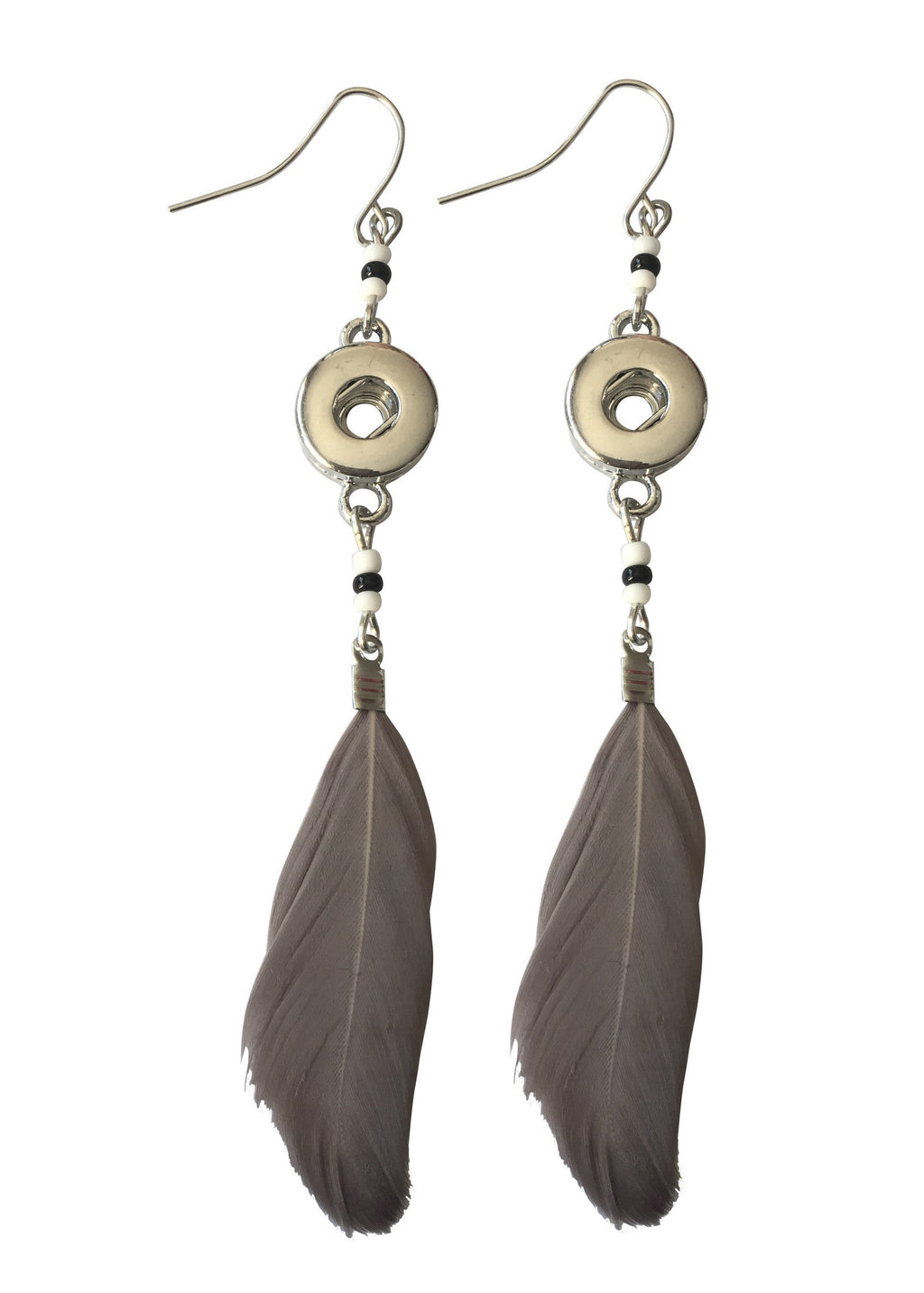 Petite long feather earring