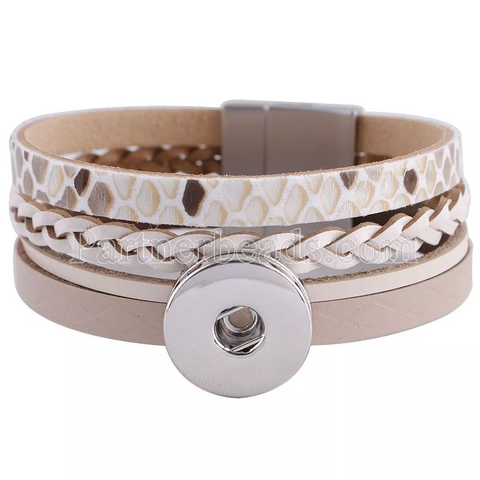 Classic multi-strap leather bracelet, Brown