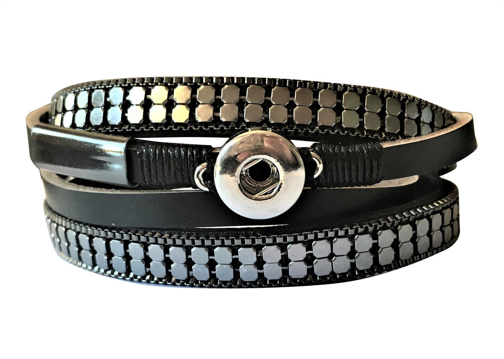 Petite Black leather wrap around bracelet with magnetic clasp