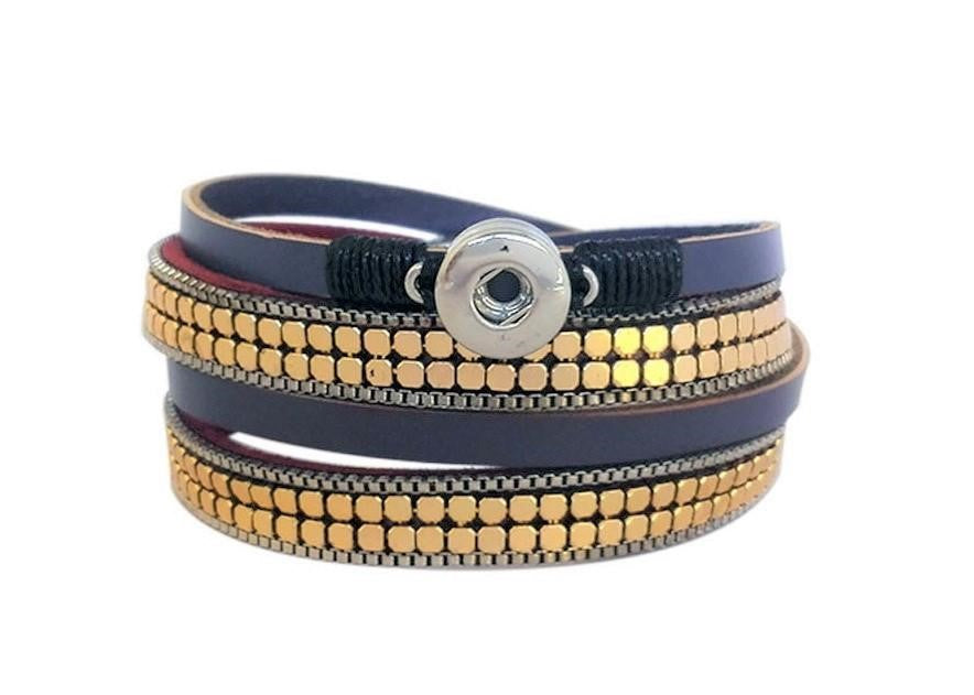 Petite Mauve leather wrap around bracelet with magnetic clasp