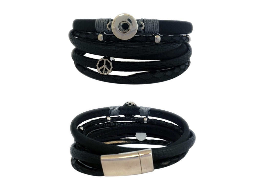 Petite solid matt black wrap around bracelet with magnetic clasp