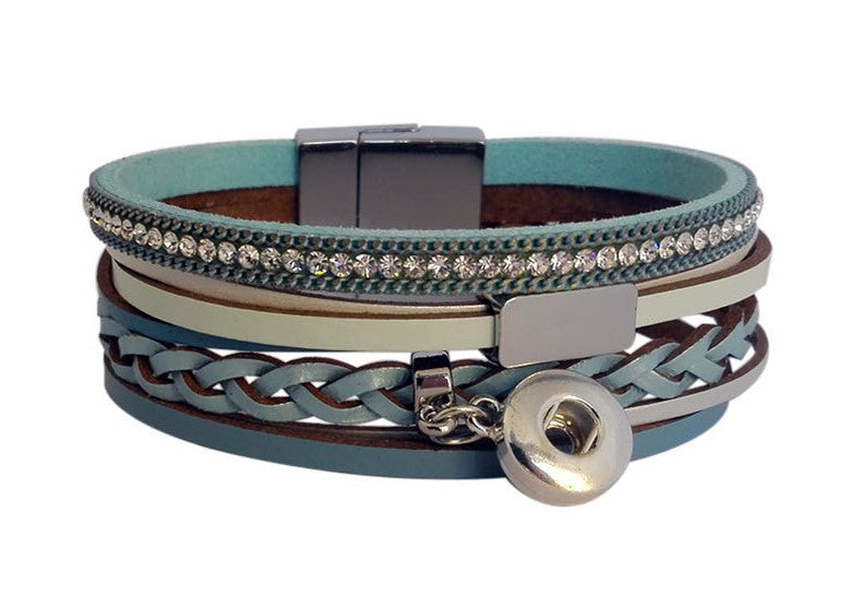 Petite leather bracelet Blue with diamante and clasp