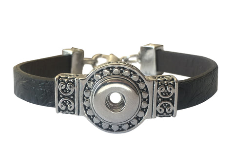 Petite black leather ornate bracelet