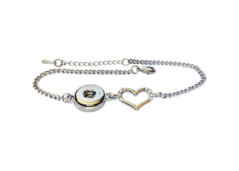 Dainty petite snap bracelet with heart