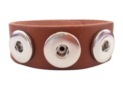 Classic soft grain 3-snap leather bracelet