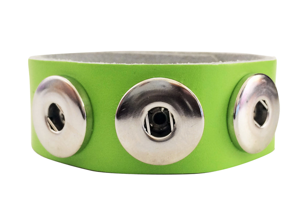 Classic soft grain 3-snap leather bracelet, Lime Green