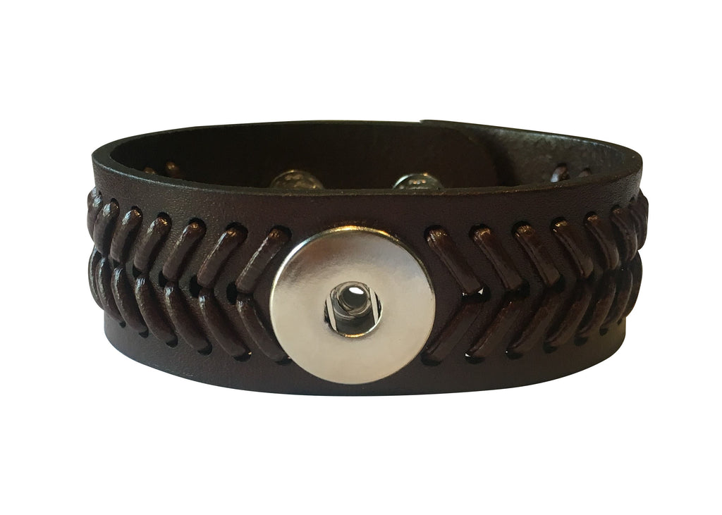 Classsic black real leather cuff