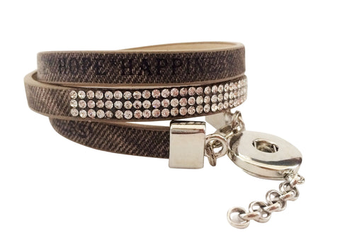 Classic denim brown wrap leather bracelet