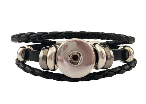 Classic faux leather bracelet, Black