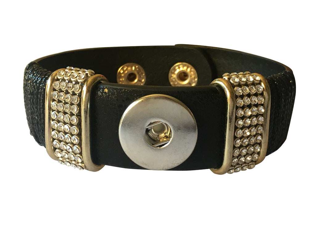 Classic black faux leather and diamante cuff