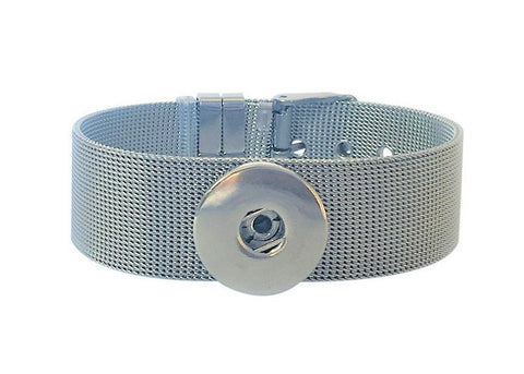 Classic Stainless Steel 1 -snap mesh bracelet