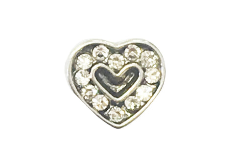 Silver diamante heart