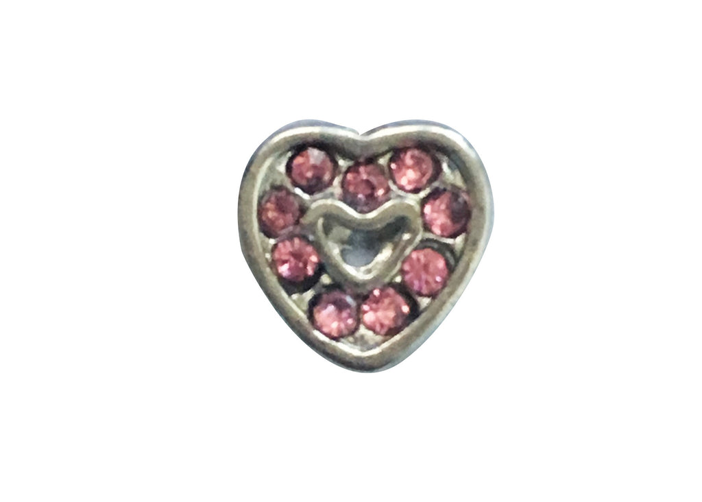 Pink on silver heart
