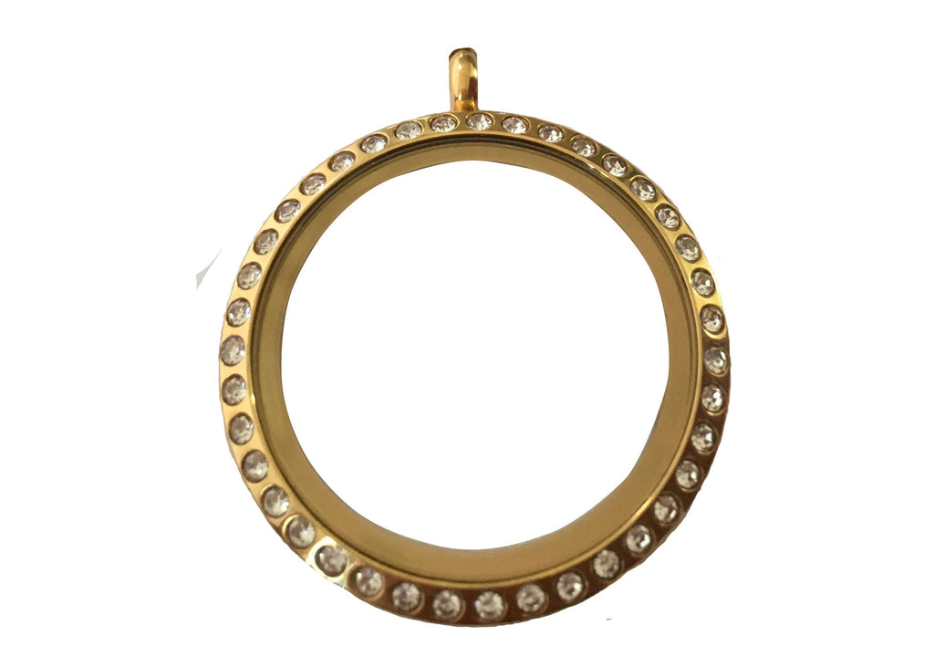 Yellow Gold Diamante Pendant / 25mm