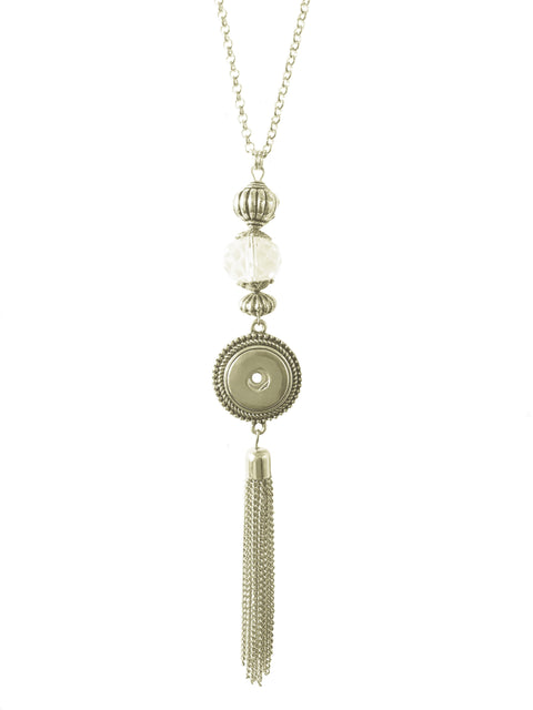 Classic extra-long tassel necklace with crystals