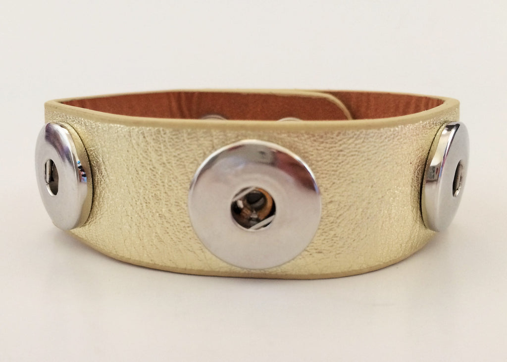Classic real leather soft-grain 3-snap cuffs, Gold