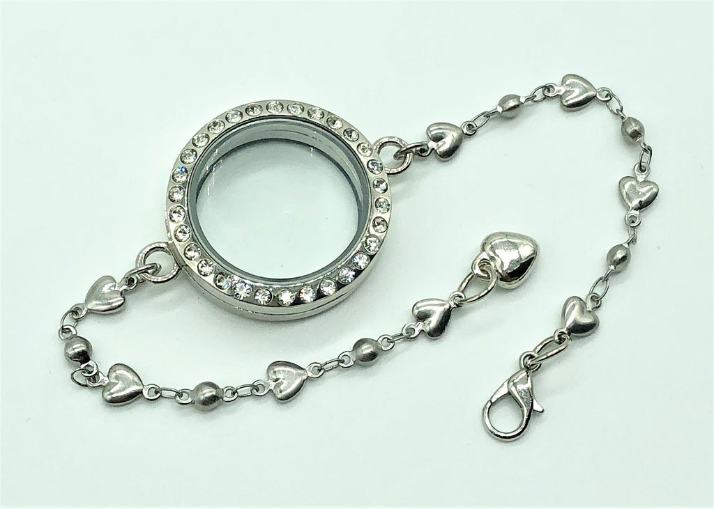 Memory Locket S/S Chain Bracelet with Diamante / 30cm