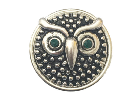 Classic Snap - Owl with Emerald Green Eyes