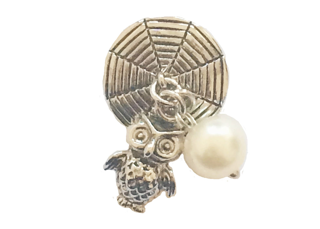 Classic - Owl with pearl dangle