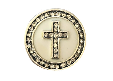 Classic - White cross with white diamante