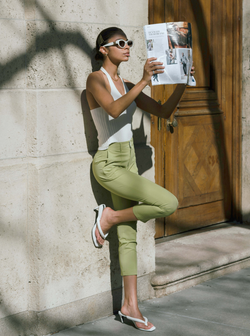 #Martini Collection# Avocado Green Tailored Trousers