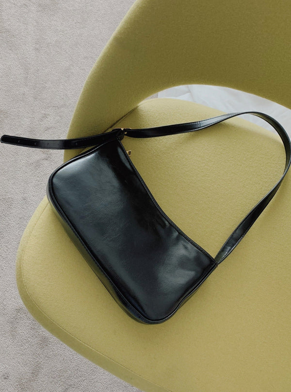 #SlowLife Baguette Style Shoulder Black Bag
