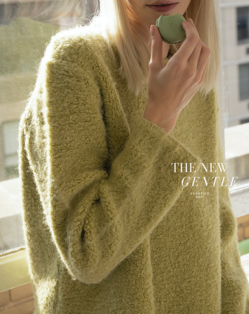 #The New Gentle# Avocado Green Crewneck Sweater