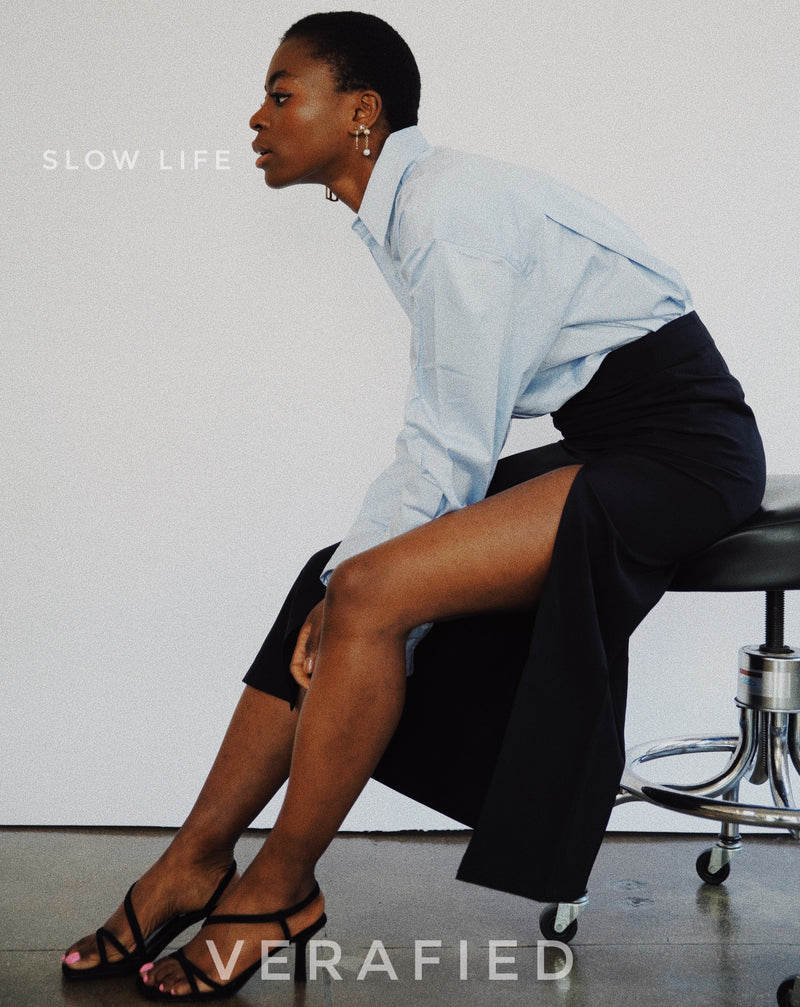#SlowLife# Oversized Button Down Shirt
