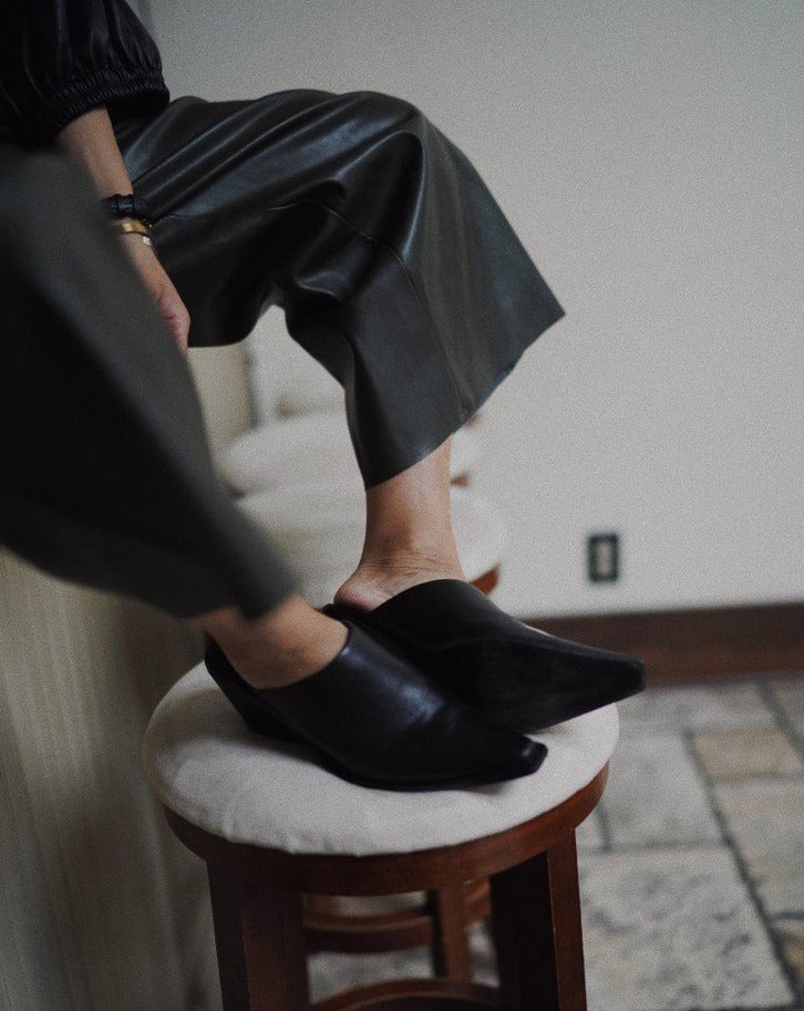 #SlowLife Wedge leather mules