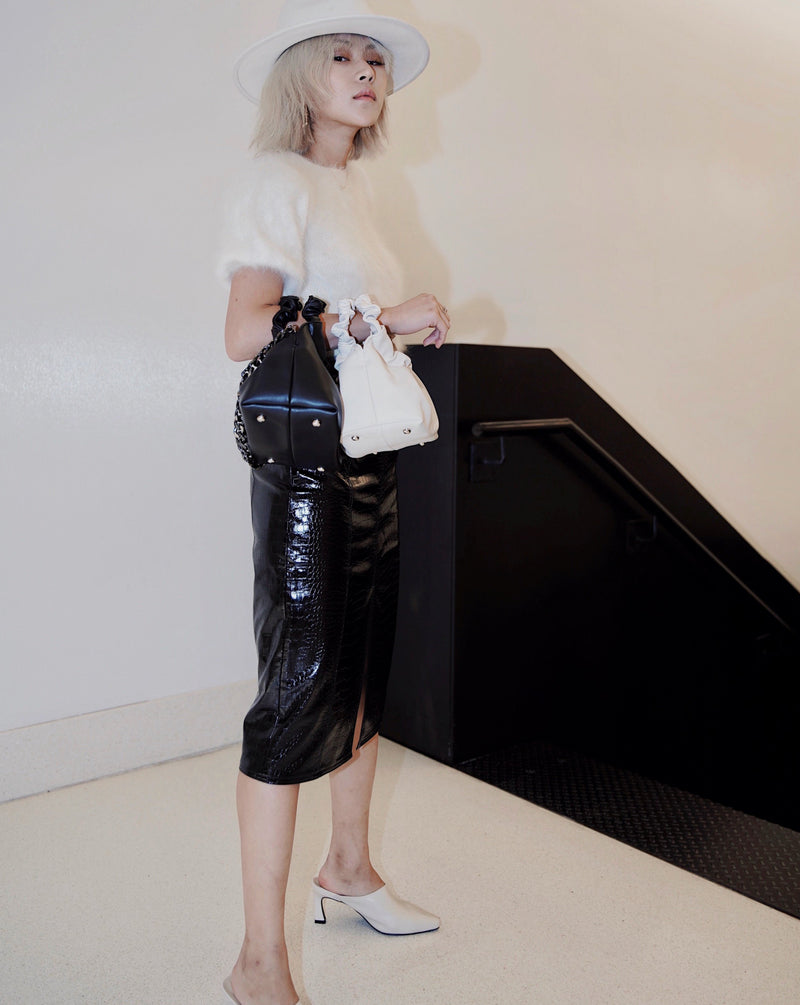 #SlowLife Vegan Leather Alligator Print Skirt
