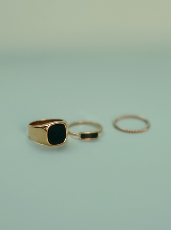 #Martini Collection# 14k Gold Black Onyx Ring  Set