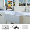 FSW1000 Luxury 26 inch Pure Fireclay Modern Farmhouse Sink in White, Single Bowl, FREE GRID