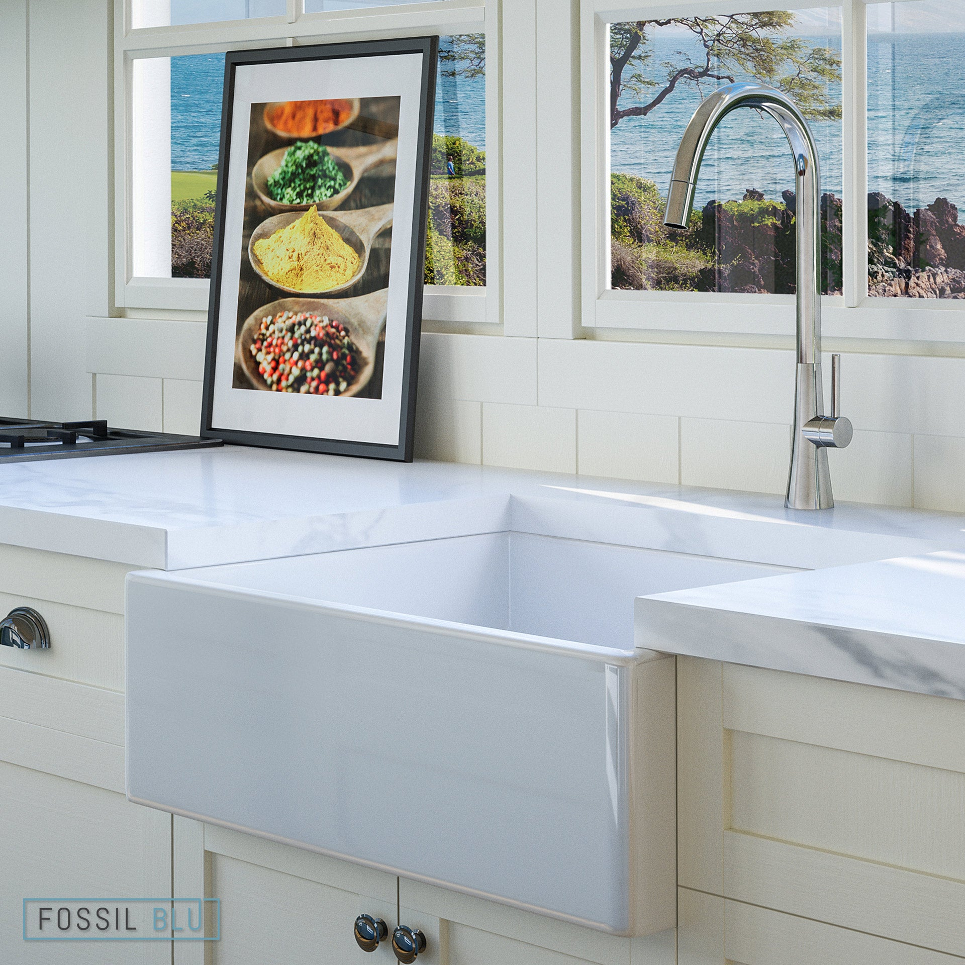 Fossil Blu - Luxury Fireclay and Copper Farmhouse Sinks