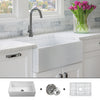 FSW1001 Luxury 30 inch Pure Fireclay Modern Farmhouse Sink in White, Single Bowl, FREE GRID