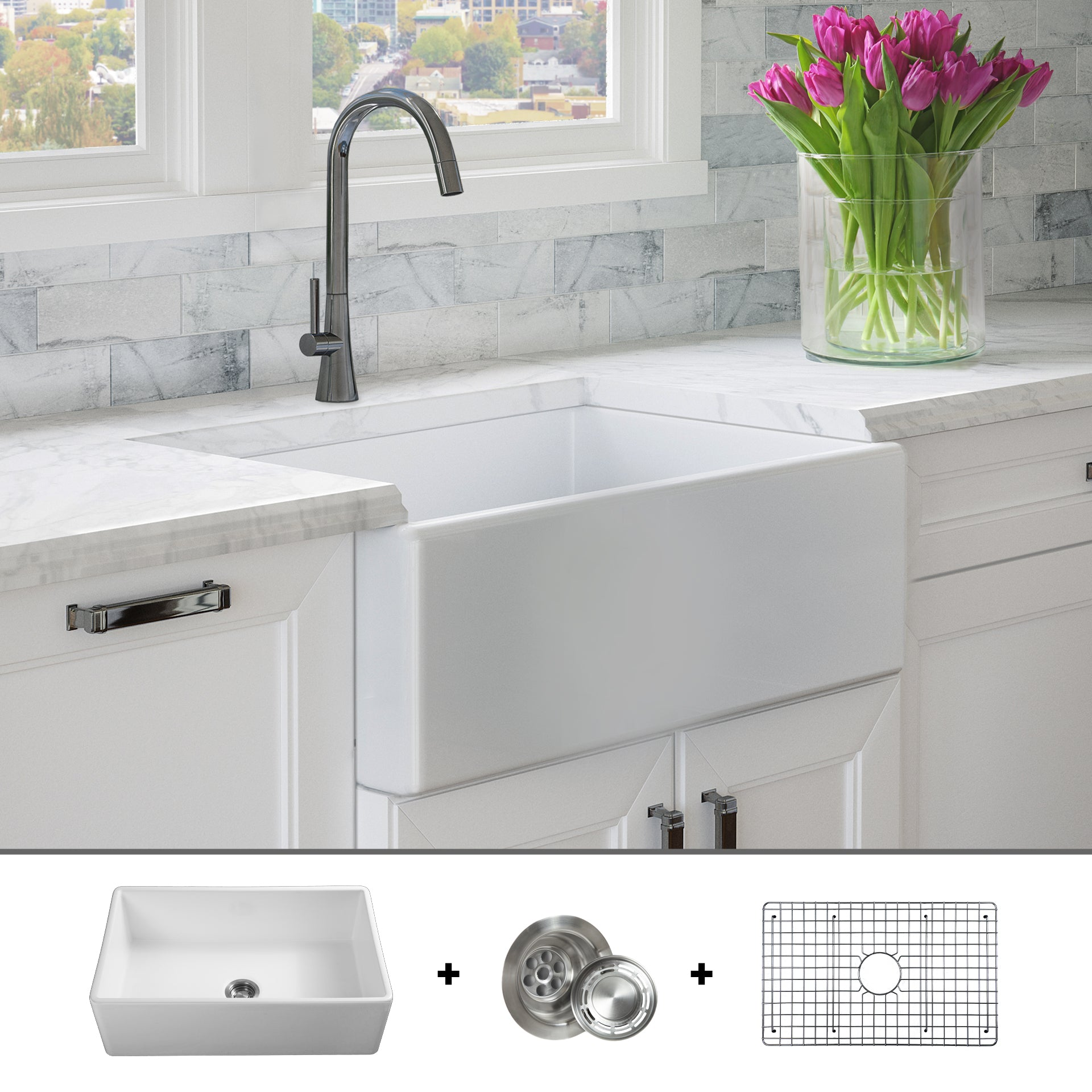 Fsw1001 Luxury 30 Inch Pure Fireclay Modern Farmhouse Sink In White