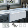 FSW1003 Luxury 33 inch Pure Fireclay Modern Farmhouse Sink in White, Double Bowl, FREE GRIDS