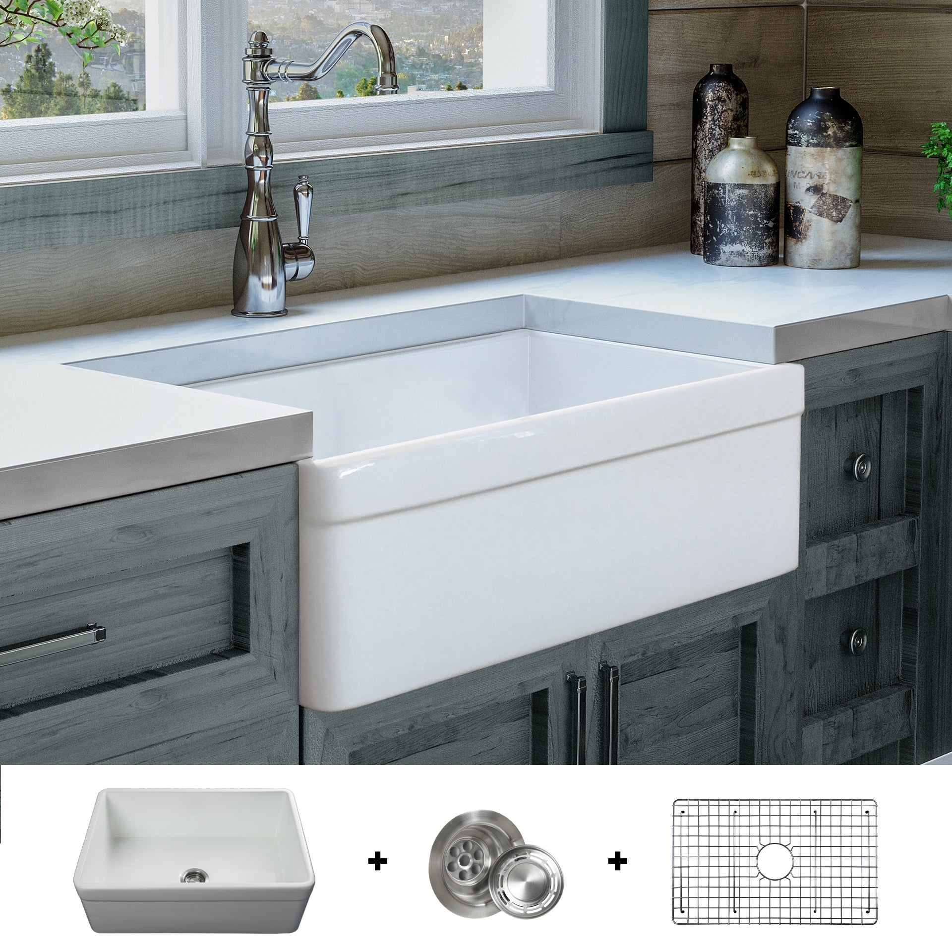 FSW1004 Luxury 30 Inch Pure Fireclay Modern Farmhouse Sink in White, Belted  Apron, FREE GRID