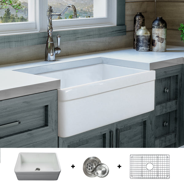 exclusive sink and cabinets in ultramodern kitchen | FSW1004 Luxury 30 Inch Pure Fireclay Modern Farmhouse Sink ...