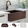 "FSW1100 Heavy 12-Gauge Luxury 33"" Copper Farmhouse Sink (48 LBS COPPER), Flat Front, Dark Antique Finish, Includes Grid and Flange"