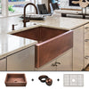 "FSW1104 Heavy 12-Gauge Luxury 30"" Copper Farmhouse Sink (44 LBS COPPER), Includes Grid and Flange"