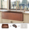 "FSW1105 Heavy 12-Gauge Luxury 33"" Copper Farmhouse Sink (52.6 LBS COPPER), Medium Antique Finish, Includes Grid and Flange"