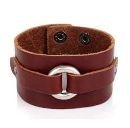 Men's Classy Rocker Leather Bracelet Cuff Brown - Brummen Store